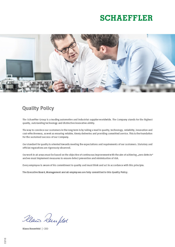 Schaeffler Quality Policy