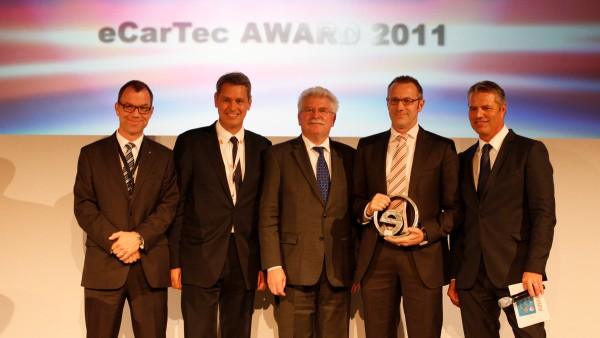 Schaeffler is presented with the Bavarian State Award for Electric Mobility in the category drive technology, electrical systems and test systems for its innovative eWheelDrive during the leading trade show, eCarTec.