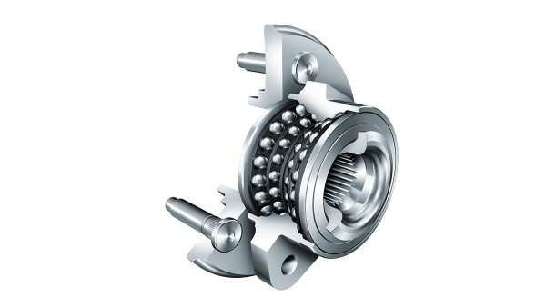 The twin tandem, a four-row angular contact ball bearing, replaces conventional tapered roller bearings in wheel bearings and contributes significantly to saving fuel.